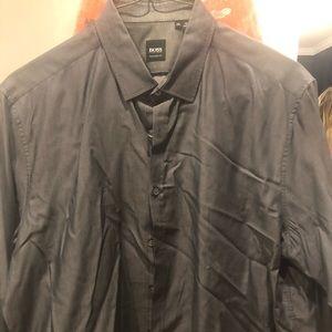 Men's Hugo Boss Size 2XL Gray Dress Shirt